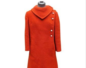 Vintage orange round button mod coat