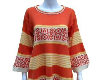 Vintage orange, yellow and ivory knit mini sweater dress with wide sleeves