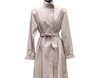 Vintage beige with rust orange trim belted trench raincoat jacket