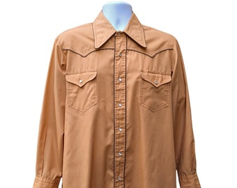 Vintage 70s western shirt, orange yellow ochre western shirt with brown piping, 70s cowboy shirt