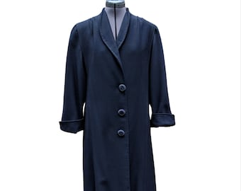 Vintage navy long boiled wool satin lined 3 button winter coat