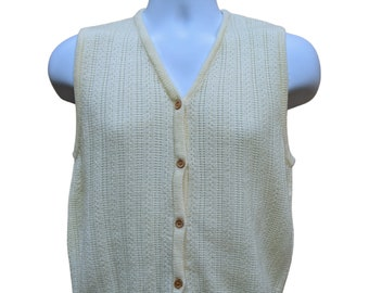 small medium vintage - 70s style square neck tank neutral toned knit blouse sweater vest
