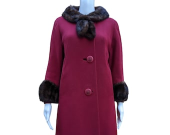 Vintage raspberry red coat with mink collar and cuffs