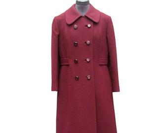Vintage burgundy maroon wool coat by SIMPSONS