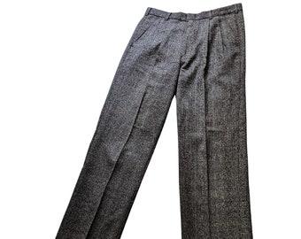 Vintage 80s high waist dark gray glen check pleated tapered pants