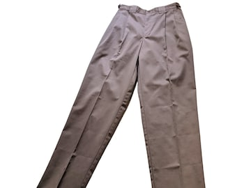 Vintage 80s taupe high waist pleated tapered sport pants, fit 30 to 34 inch waist