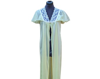 Vintage 70s or 80s pale yellow and white lace 100% nylon robe