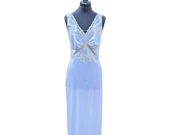 Vintage warm white beige full length nylon and lace slip