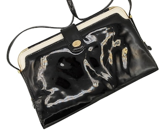 Vintage black and white patent leather and gold tone metal shoulder bag, 70s does 40s patent handbag
