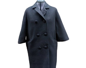 Vintage 60's black three quarter sleeve light weight poly-filled coat