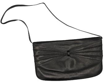 Vintage 70s or 80s black leather clutch or shoulder purse with long detachable strap