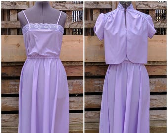 Vintage 1970's Lavender 100% Polyester Fit and Flare Dress Summer Evening Sundress With Cap Sleeve Jacket