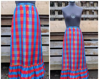 Vintage 90s TIKLAS Silk Taffeta Red and Blue Plaid Full Length Skirt made in Finland