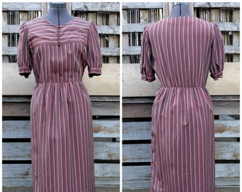 Vintage 1970's 80's pink, brown and mauve striped silk lined office secretary dress