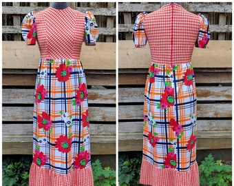 6fa8037c99 Vintage 1970s orange gingham with primary color flower and plaid pattern  maxi 100% polyester fortrel dress