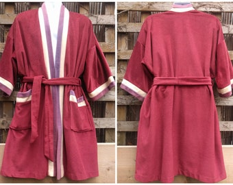 2407f7fb2d Vintage 1970 s CROWN VOCAMA by MAJESTIC Warm brown with White and Purple  Velvet Fleece Men s Robe Housecoat One Size Made in Canada