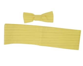 Venice Lemon Yellow Tuxedo Cummerbund and Bow Tie Set