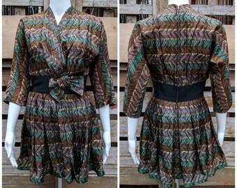 Vintage 1940's R&K ORIGINALS Brown and Teal Blue Shortened Dress or Peplum Top