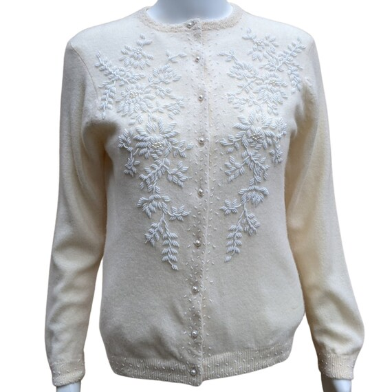 Vintage White Storyk Orlon Cardigan Lined Sweater With Pearls and Rhinestones
