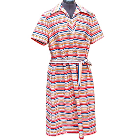 Vintage 1960's rainbow and ivory striped front zip