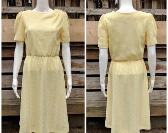 Vintage 1970's Koppy Kat Lace Butter Yellow Sundress Casual Dress