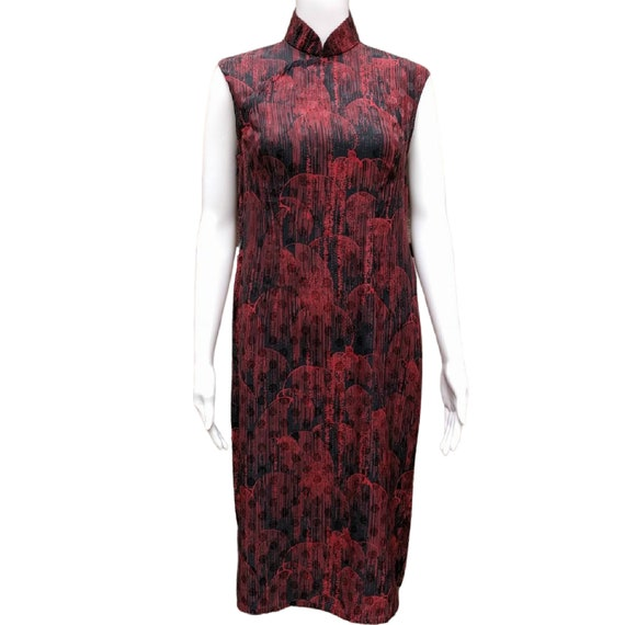 Vintage 1950's black and red rayon cheongsam dress