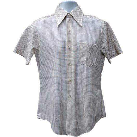 Vintage deadstock beige short sleeve men's oxford