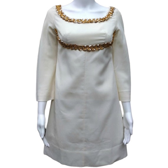 Vintage ivory with gold sequin empire waist mini d