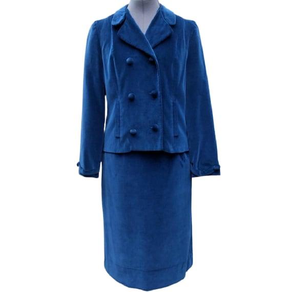 Vintage 1950's or 60's royal blue velvet suit