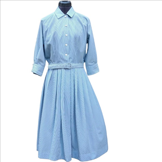 Vintage 1940's or 50's blue striped shirtdress