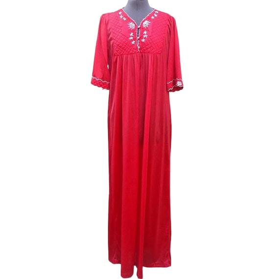 Vintage 1980's red long nightgown kaftan dressing
