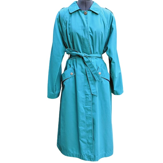 Vintage turquoise and navy blue trench coat
