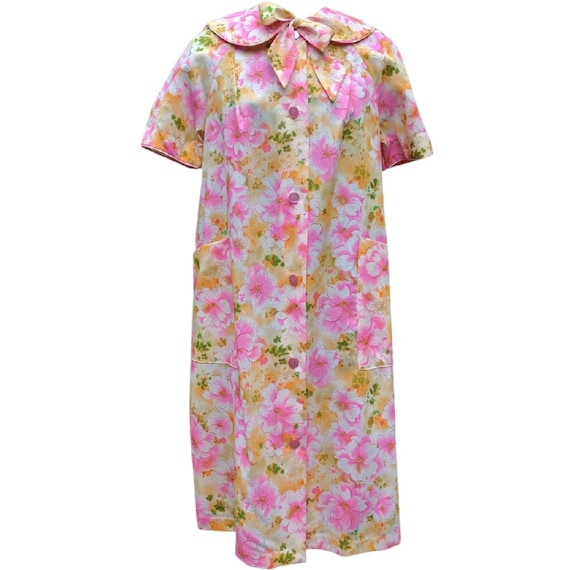 Vintage 1960's pink and yellow cotton smock robe
