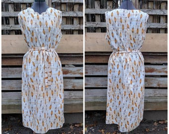 Vintage 1970's NEW TORONTO FASHIONS Ivory Brown and Golden Yellow Sundress Casual Dress