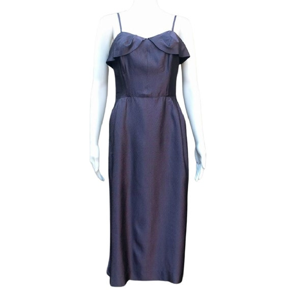 Vintage 1950's deep purple sharkskin taffeta wiggl