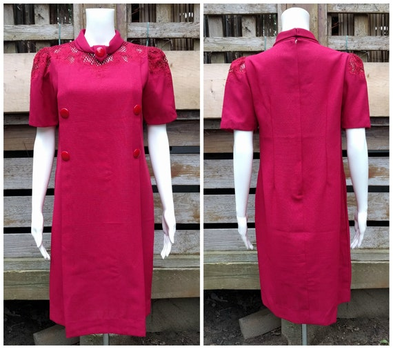Vintage 1960's raspberry red stiffened linen shift