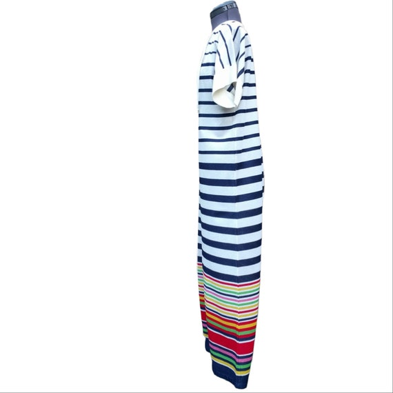 Vintage 1980's white, navy and rainbow striped te… - image 3