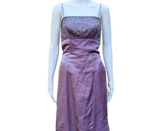 Vintage 1960's purple with clear and silver glass beaded silk dress by MARDI GRAS