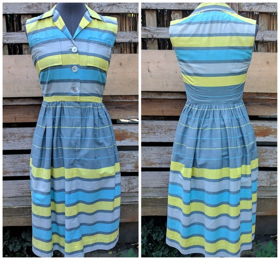 Vintage 1950's blue, yellow and gray horizontal st