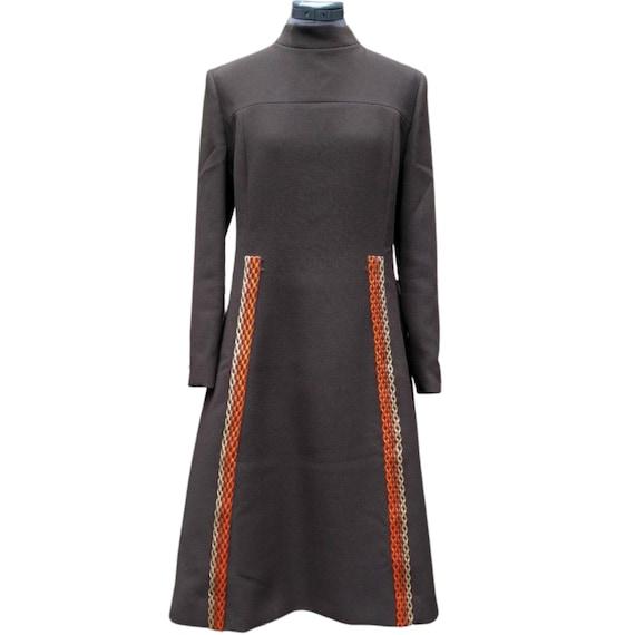 Vintage 1960's brown high neck mod dress