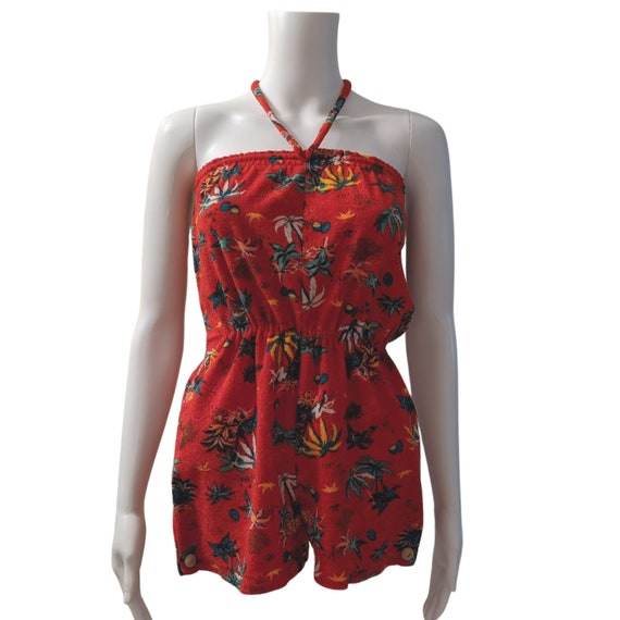 Vintage 1980's red tropical terry cloth romper