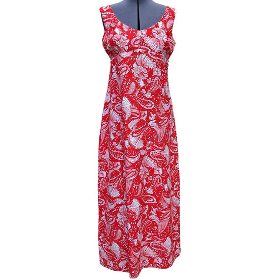 Vintage red and white cotton sundress maxi dress w