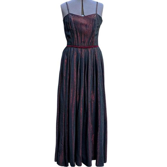 Discounted Vintage dark red moire silk taffeta dre