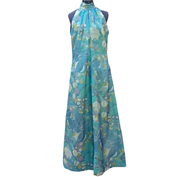 Vintage aqua blue green chiffon over pastel floral