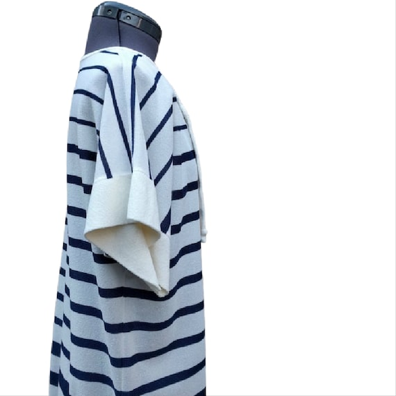 Vintage 1980's white, navy and rainbow striped te… - image 6