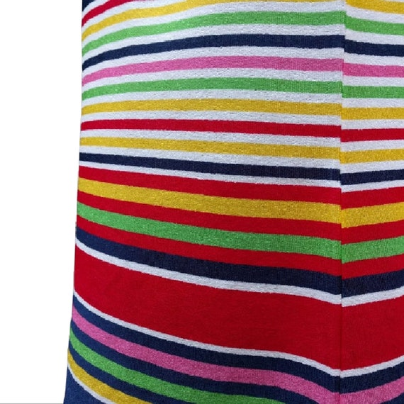 Vintage 1980's white, navy and rainbow striped te… - image 8