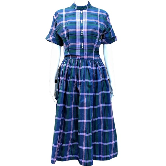 Vintage blue, green and pink plaid cotton dress