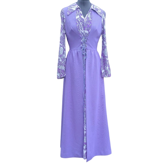 Vintage 1970's purple and white front lace-up maxi