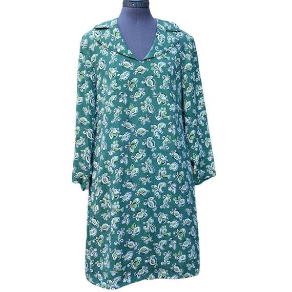 Vintage 1960's green long sleeve mod mini dress