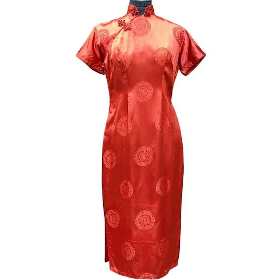 Vintage deep orange satin cheongsam dress